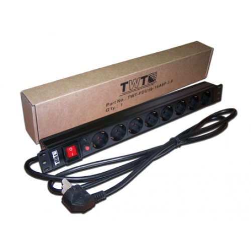 "Блок розеток 19"" 8 шт., 16A 250V, шнур питания 3.0 м TWT-PDU19-16A8P-3.0"