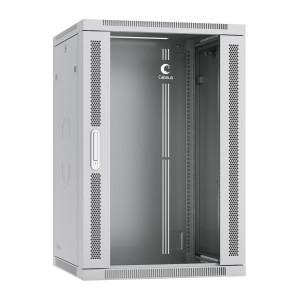 """SH-05F-18U60/60 Шкаф 19"""" 18U 600x600 Cabeus телекоммуникационный настенный, дверь стекло, разборный"""