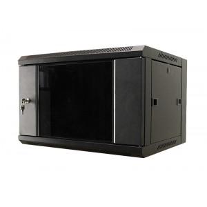 """Шкаф 19"""" 9U настенный, 450 мм, дверь стекло, черный MDX-SH-9U60-45-GS-BK (замена MDX-CW2-9U-6х4)"""