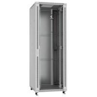 """Cabeus Шкаф 47U телекоммуникационный 19"""" напольный 800x1000 дверь стекло, ручка с замком, цвет серый"""