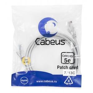 Cabeus PC-UTP-RJ45-Cat.5e-2m Патч-корд U/UTP, категория 5е, 2xRJ45/8p8c, неэкранированный, серый,PVC