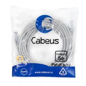 Cabeus PC-UTP-RJ45-Cat.5e-10m Патч-корд U/UTP, категория 5е, 2xRJ45/8p8c, неэкранированный, серый