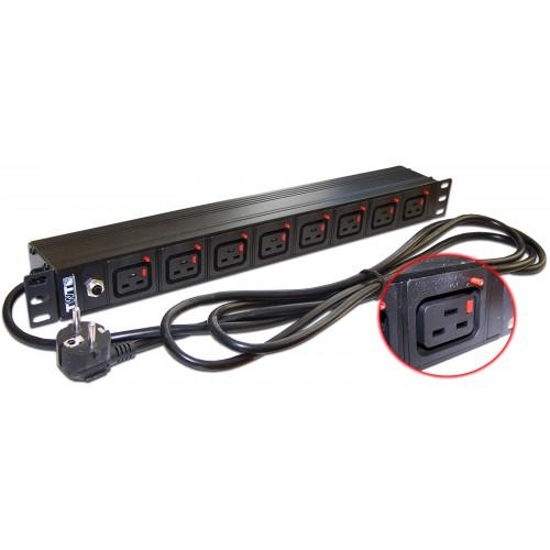 """Блок розеток 19"""" 8 шт. C19 с фиксатором вилки, 16A 250V, шнур питания 3.0 м TWT-PDU-16A8C9L-3.0"""