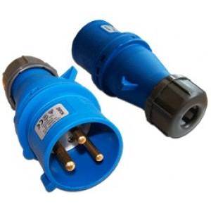 Вилка IEC 309 однофазная, папа, 32A, 250V, разборная, синяя