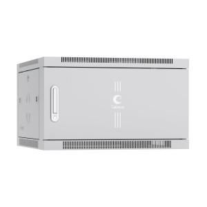 """Шкаф SH-05F-6U60-45m настенный 6U 19"""" 600x450 телекоммуникационный дверь металл, серый, Cabeus"""