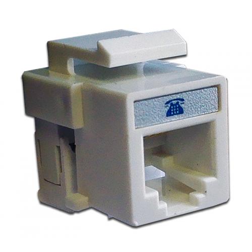 Модуль Keystone телефонный, RJ12 6P4C, Cat.3, белый, TWT-OK12UTP/TEL-WH TWT-OK12UTP/TEL-WH