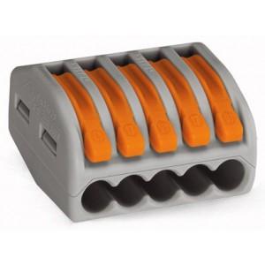 Клемма на 5 проводников (с рычагами) 5x0,08-4/2,5 мм2 (WAGO)