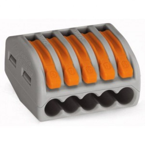 Клемма на 5 проводников (с рычагами) 5x0,08-4/2,5 мм2 (WAGO) 222-415