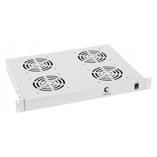 """Cabeus Модуль вентиляторный 19"""" 1U, 4 вентилятора глубина 320 mm серый JG03"""