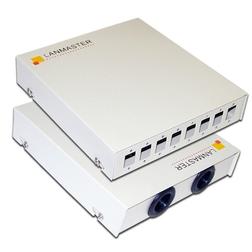 Кросс оптический LANMASTER настенный, металлический, на 8 SC адаптеров LAN-FOBM-WM-8SC