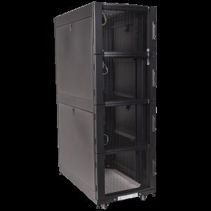 Шкаф LANMASTER DCS 48U 600x1070 мм, 4 секции, двери с перфорацией, с боковыми панелями, черный