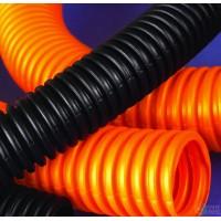Труба гофрированная 32мм ПНД легкая с протяжкой (25м) оранжевый