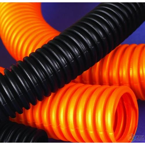 Труба гофрированная 32мм, ПНД, легкая, не распространяет горение, с протяжкой, оранжевый, (25м) 71932