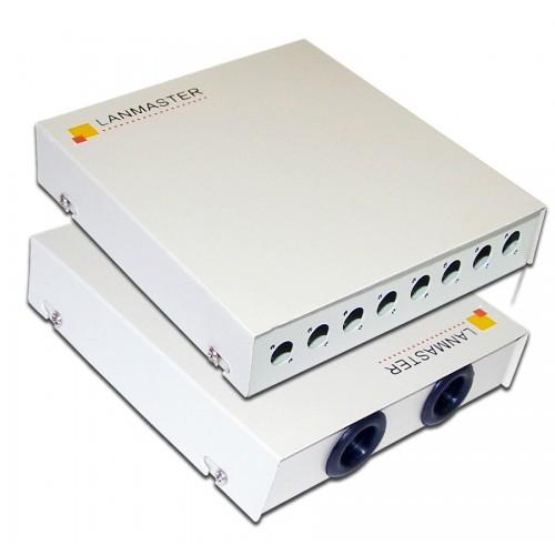 Кросс оптический LANMASTER настенный, металлический, на 8 FC адаптеров LAN-FOBM-WM-8FC