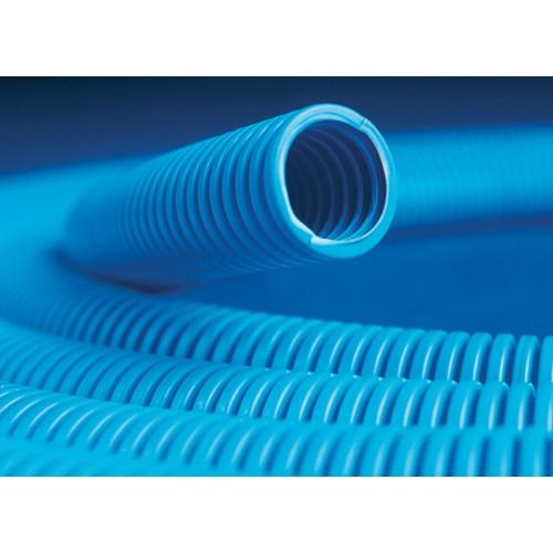 Труба гофрированная 20мм с протяжкой, ППЛ (бухта 100м), цвет синий 11920