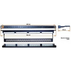 """Патч-панель  0.5U 19 """" 24 порта RJ45, UTP, кат.5E, LANMASTER"""