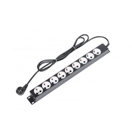 """Блок силовых розеток 19"""" со шнуром (2 м.) без выключателя, 9 розеток, цвет черный БР-9П-Ш-9005"""