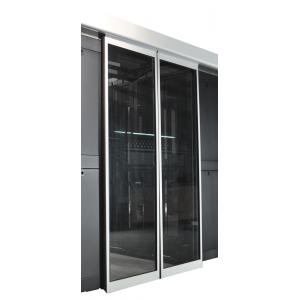 Автоматическая развижная дверь коридора 1200 мм для шкафов LANMASTER DCS 42U, стекло, key-card замок