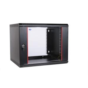 """Шкаф 19"""" ЦМО 9U телекоммуникационный настенный разборный 600х650 дверь стекло, цвет черный"""