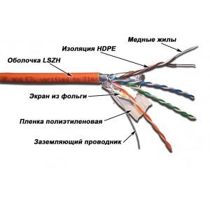 Кабель LANMASTER FTP 4 пары, кат. 5Е  LSZH (305 м), Оранж.