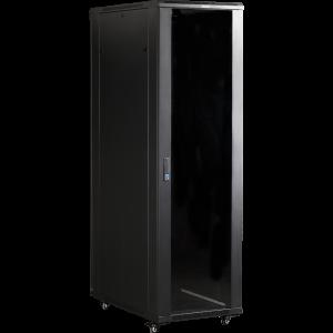 """Шкаф напольный 37U 600x800 19"""" TWT, черный, передняя дверь стекло, задняя дверь распашная металл"""