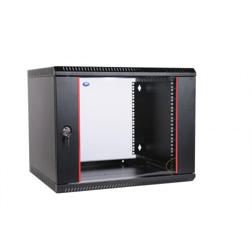 """Шкаф ЦМО 19"""" телекоммуникационный настенный разборный 6U (600х350) дверь стекло, цвет черный ШРН-Э-6.350-9005"""