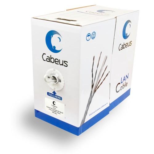 Cabeus Кабель FTP, категория 5e,  витая пара экранированная  F/UTP 4 пары 0,51мм 305 м FTP-4P-Cat.5e-SOLID-GY FTP-4P-Cat.5e-SOLID-GY