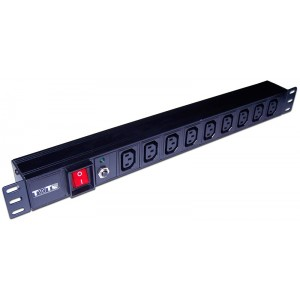 """TWT-PDU19-10A9C3 Блок силовых розеток 19"""" PDU 9 шт. C13, 10A 250V, без шнура питания TWT"""