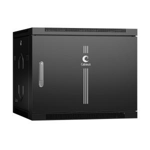 """Шкаф 19"""" 9U 600x600 Cabeus телекоммуникационный настенный, металлическая дверь, черный, разборный"""